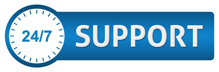 Support With Clock Blue Horizontal