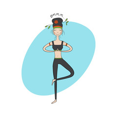 Yoga girl in tree pose. Hand Drawn Vector Illustration.