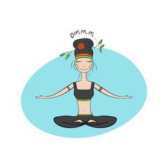 Yoga girl in lotus meditative pose. Hand Drawn Vector.