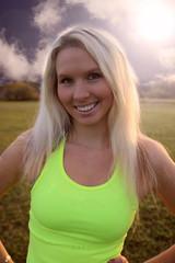 Young beautiful girl training outdoor