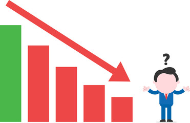 Confused businessman beside bar chart with arrow down