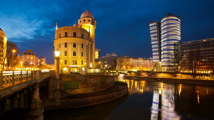 Timelapse - Urania and UNIQA Tower at the Danube Canal Vienna
