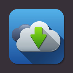Vector cloud computing download icon with long shadow