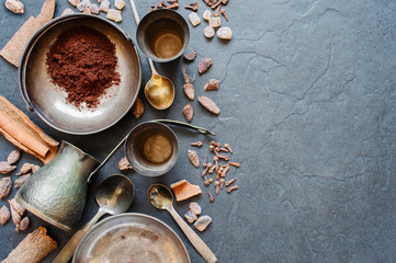 Coffee and spices on a dark background