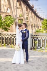 groom bride bridge