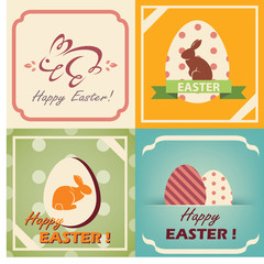 vintage easter cards set, easter background in retro style