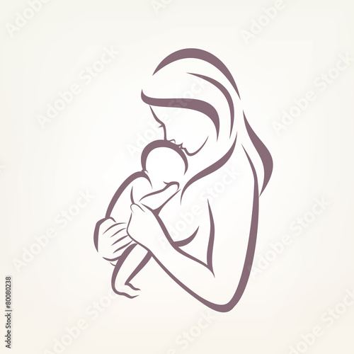 mom and baby stylized vector symbol, outlined sketch - 80080238