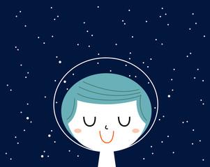 Little astronaut boy with stars background behind