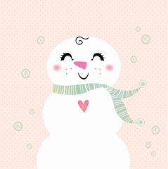 Snowman girl isolated on dotted background