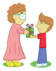 Boy Giving a Gift for Grandmother