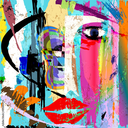 abstract woman's face, with paint strokes and splashes © Kirsten Hinte