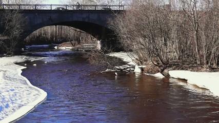 City traffic on bridge above river in spring