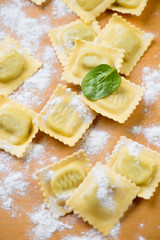Raw italian ravioli with ricotta and spinach, close-up