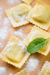Close-up of raw square italian ravioli with flour, studio shot