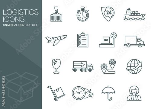 Transport icons, thin line style, flat - 80083292