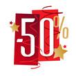 Sticker -50 % rouges et or