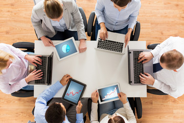 business team with laptop and tablet pc