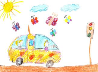 Children drawing car trip