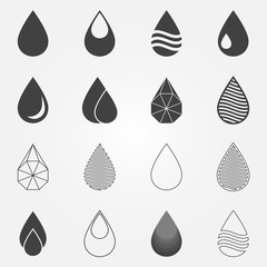Water drops icons vector set