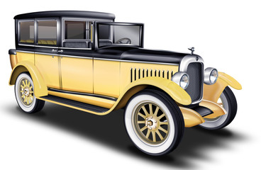 schwarzer - gelber Oltimer, PKW, Limousine Taxi, Taxe