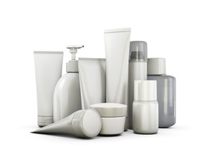 Cosmetics set on a white background