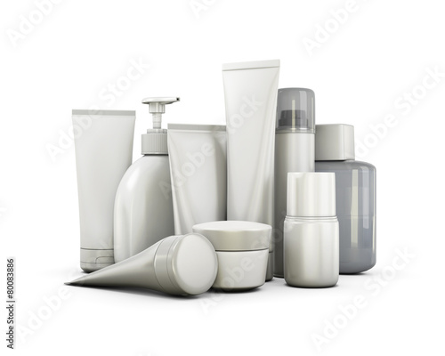 Leinwanddruck Bild Cosmetics set on a white background