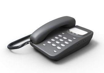 Stationary push-button telephone on a white