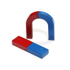 Red and Blue Horseshoe Magnet Isolated on White Background