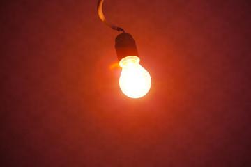 bulb lamp light on red background