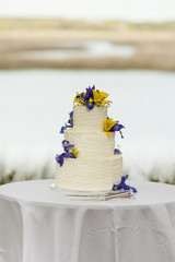 three tiered wedding cake at outdoor reception