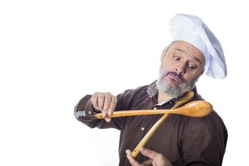 Cocinero en clave de humor aislado sobre fondo blanco