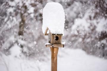 Wooden bird feeder with a tall cap of snow