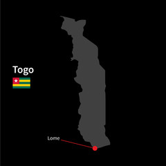 Detailed map of Togo and capital city Lome with flag on black