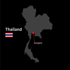 Detailed map of Thailand and capital city Bangkok with flag on