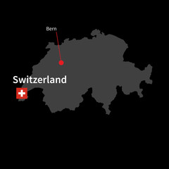Detailed map of Switzerland and capital city Bern with flag on