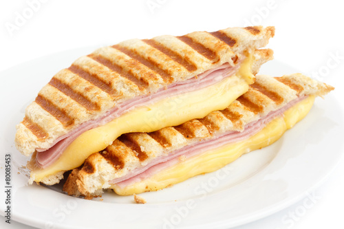 Fotobehang Snack Toasted ham and cheese panini sandwich.