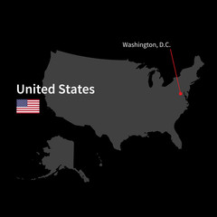 Detailed map of United States and capital city Washington with