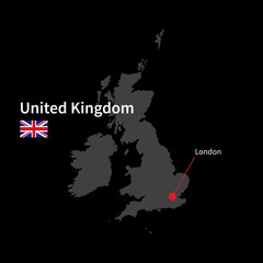 Detailed map of United Kingdom and capital city London with flag