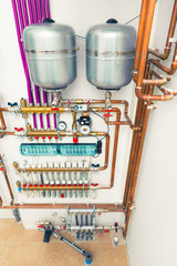 underfloor heating system in boiler-room
