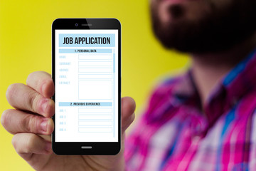 Hipster smartphone with job application form on the screen