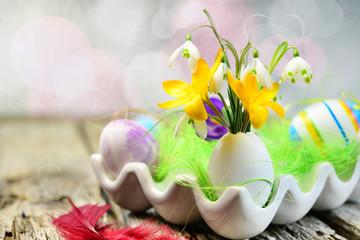 Osterei als Blumenvase