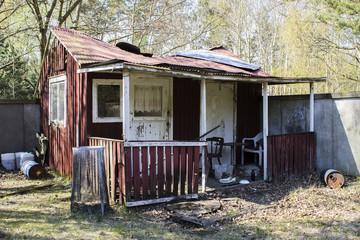 Abandoned ramshackle shack house