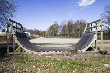 Abandoned skateboard ramp