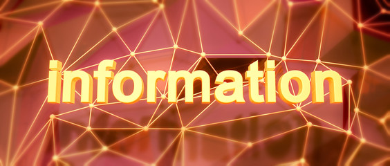 Abstract low-poly background. Word concept. Text information. 3d
