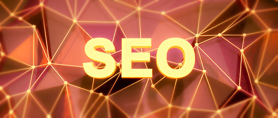 Abstract low-poly background. Word concept. Text SEO. 3d render.