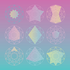 Multicolored decagram grid