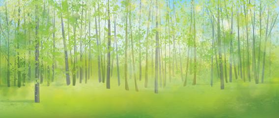 Vector spring forest background.