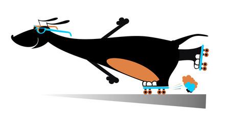 Comic dog roller skates silhouette
