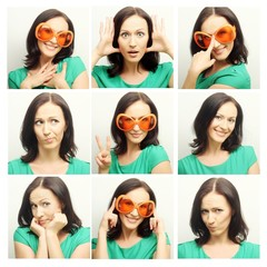 Collage of the same woman making diferent expressions.