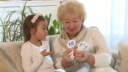 Little girl learning math at home